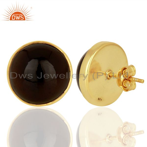 Suppliers Smoky Topaz Round  Bezel Set 925 Sterling Silver 18K Gold Plated Stud Earrings