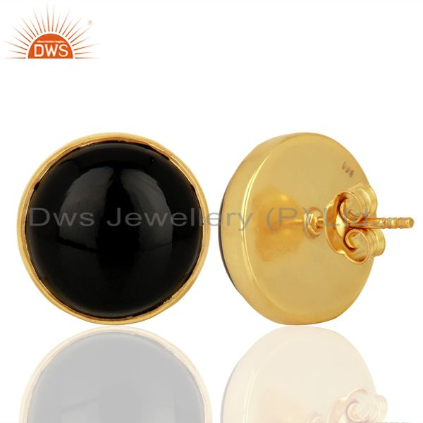 Suppliers Black Onyx Round  Bezel Set 925 Sterling Silver 18K Gold Plated Stud Earrings