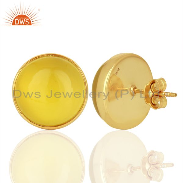 Suppliers Yellow Onyx Round  Bezel Set 925 Sterling Silver 18K Gold Plated Stud Earrings