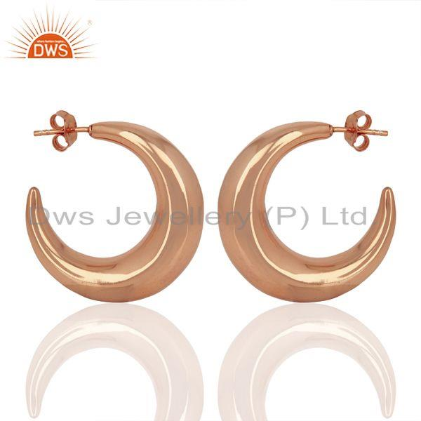 Suppliers Large Hollow Half Hoop 925 Sterling Silver Rose Gold Plated Earrings