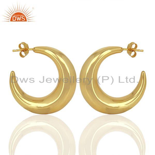 Suppliers Large Hollow Half Hoop 925 Sterling Silver 14K Yellow Gold Plated Earrings