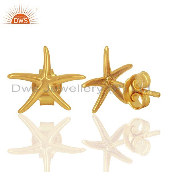 Suppliers Gold Plated Star Design Plain Silver Stud Earring For Girls Jewelry