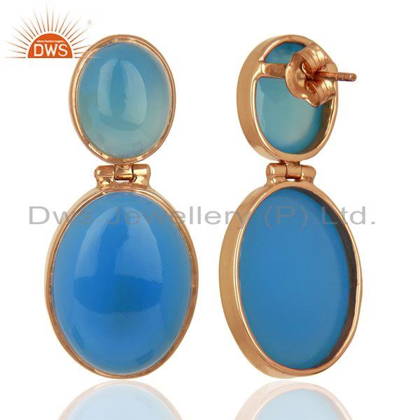 Suppliers Rose Gold Plated 925 Silver Blue Chalcedony Gemstone Earrings Supplier