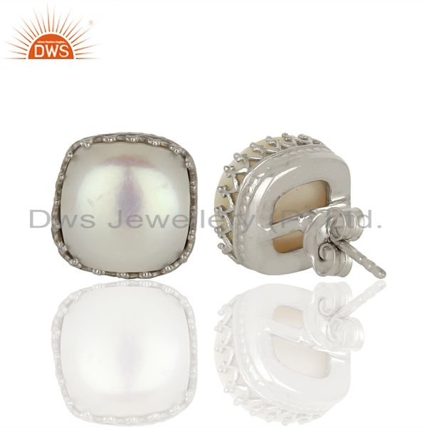 Suppliers 925 Silver Crown Design Natural Pearl Gemstone Stud Earrings Supplier