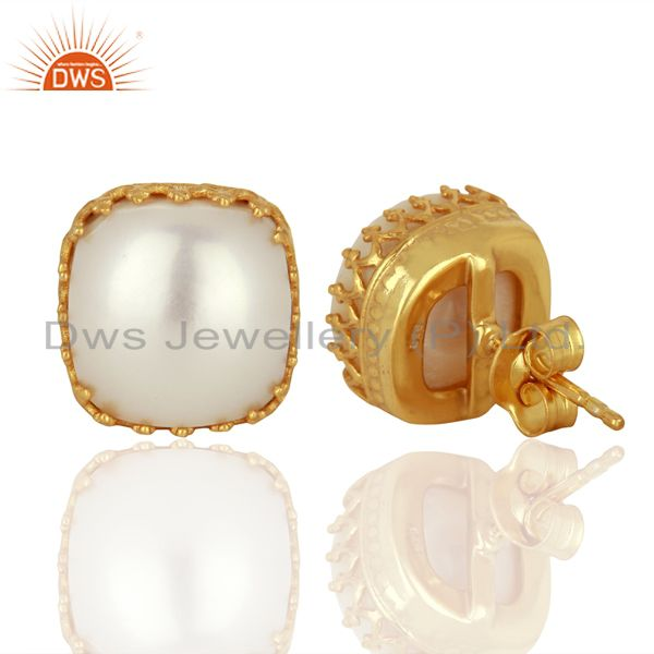 Suppliers Crown Design Gold Plated Silver Natural Pearl Gemstone Stud Earrings