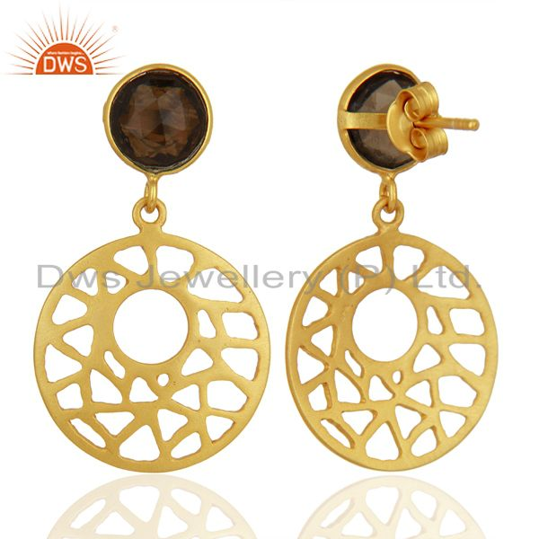 Suppliers Filigree Design Gold Plated 925 Silver Smoky Quartz Gemstone Earrings