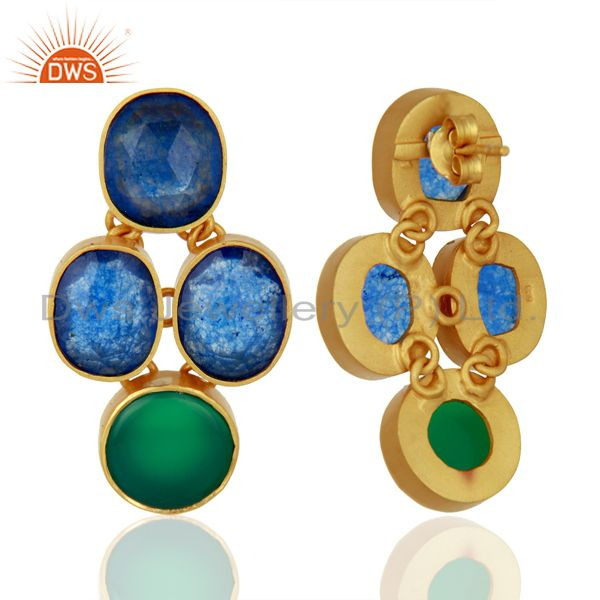 Suppliers Green Onyx and Blue Aventurine Gemstone 925 Silver Earrings Supplier