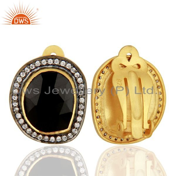 Suppliers Natural Black Onyx Gemstone CZ Gold Plated Silver Stud Clip Earrings