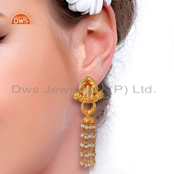 Suppliers Natural Pearl Gemstone Gold Plated Silver Traditional Earrings