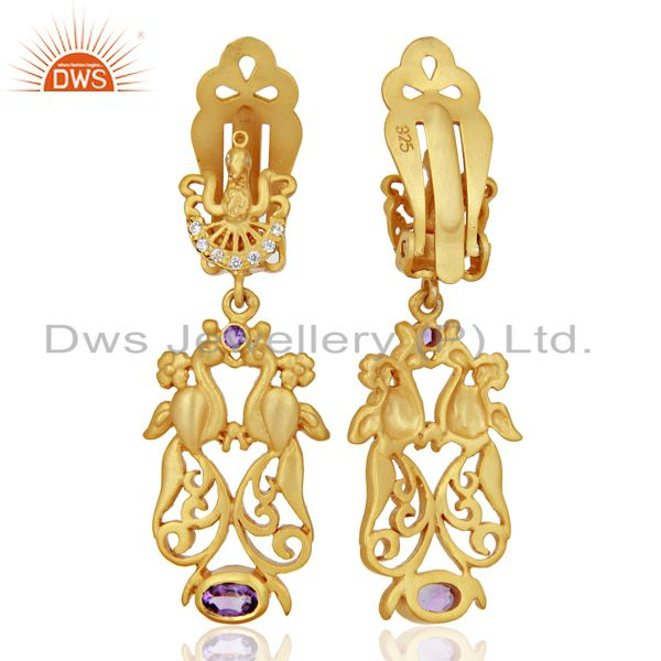 Suppliers Natural Amethyst CZ Gemstone Gold Plated Silver Clip Earrings Supplier