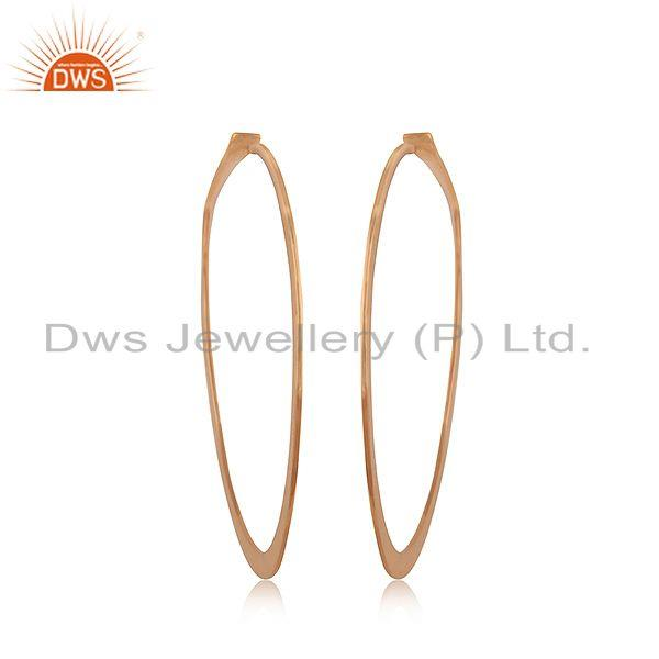 Suppliers Handmade Rose Gold Plated 925 Sterilng Silver Hoop Earrings Manufacturer INdia