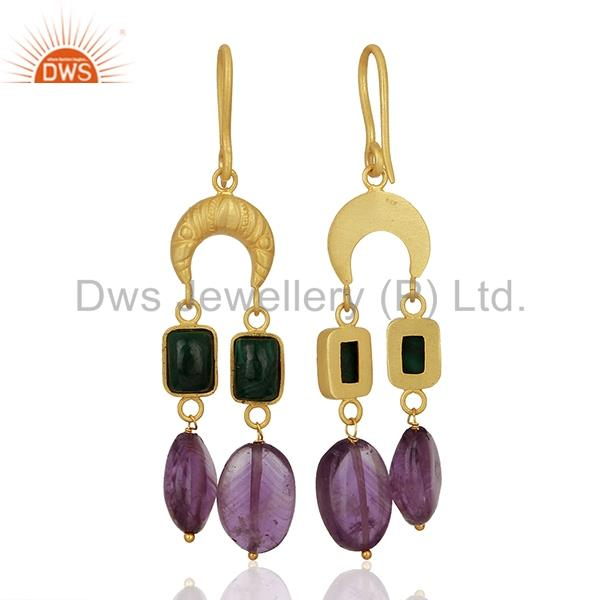 Suppliers Tanzanite Gemstone Gold Plated Designer Silver Earrings Supplier