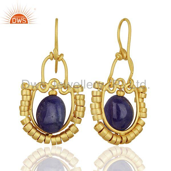 Suppliers Malachite and Amethyst Gemstone Gold Plated 925 Silver Earring Jewelry