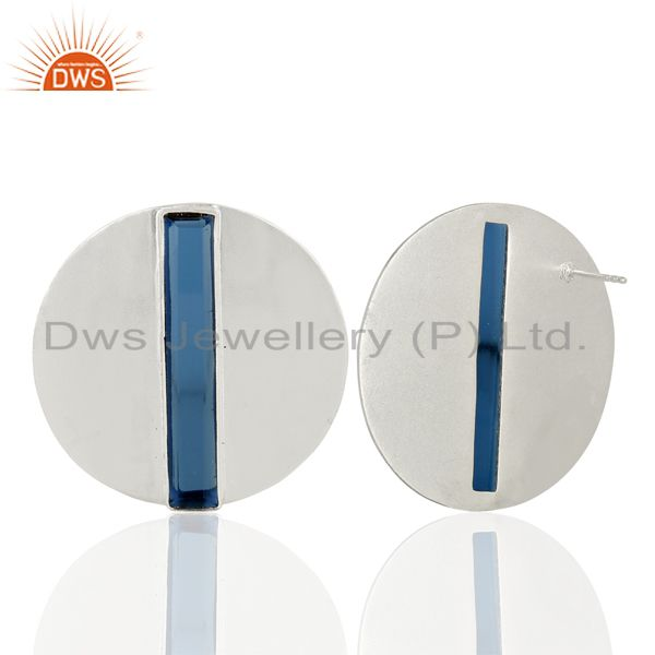 Suppliers Corundum Blue Gemstone 925 Sterling Silver Stud Earrings Manufacturer