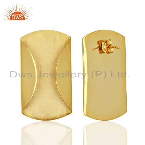 Suppliers Designer Yellow Gold Plated 925 Silver Stud Earrings Jewelry Supplier