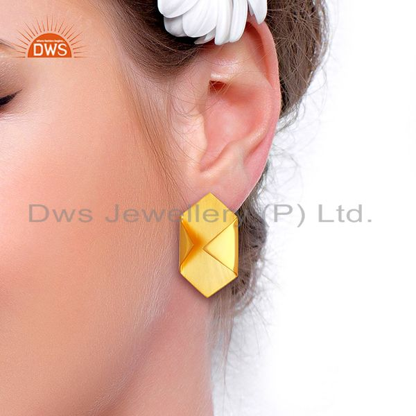Suppliers Handmade Gold Plated 925 Silver Designer Stud Earrings Jewelry
