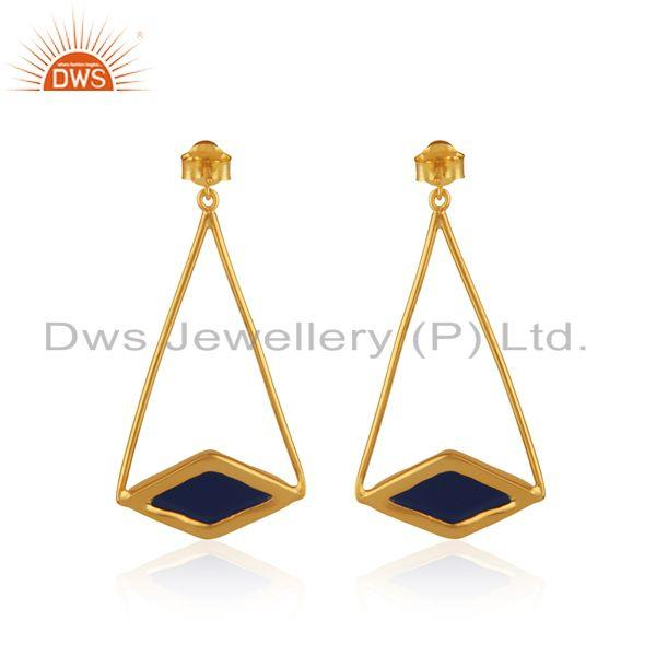 Suppliers Designer 925 Sterling Silver Blue Corundum Gemstone Earrings Supplier