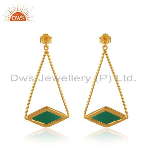 Designer of Long dangle earring in yellow gold on silver 925 with green onyx