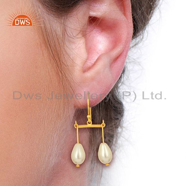 Suppliers Natural Pearl Gemstone Gold Plated 925 Silver Womens Earring Wholesale