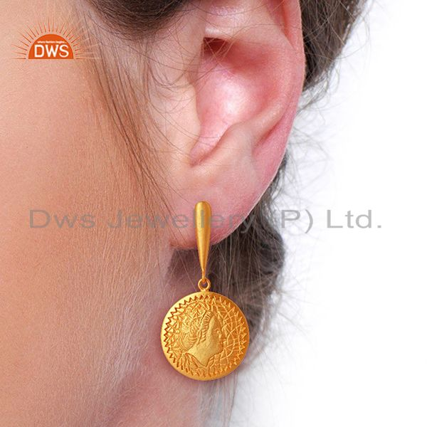 Suppliers Handcrafted Yellow Gold Plated Plain Silver Earrings Manufacturer