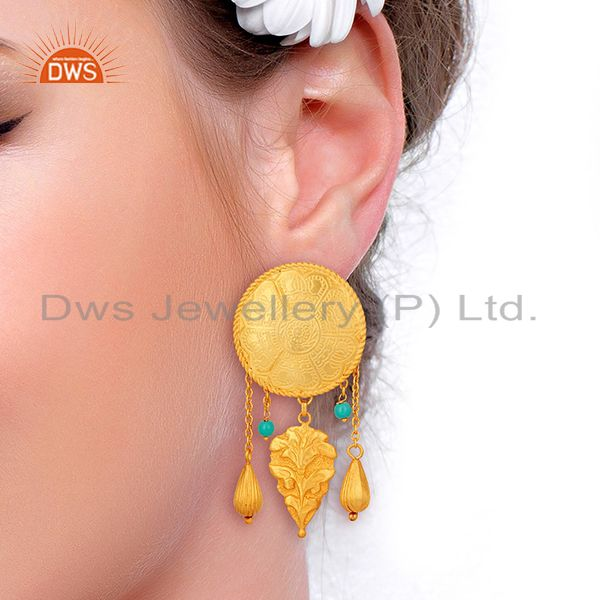Suppliers Gold Plated Silver Turquoise Gemstone Earrings Jewelry Manufacturer