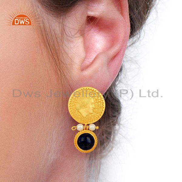 Suppliers Lapis and Pearl Gemstone Silver Gold Plated Earrings Jewelry Wholesale