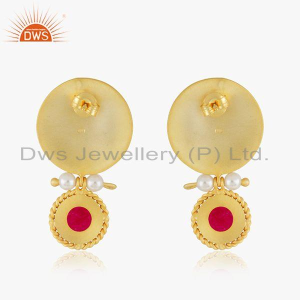 Suppliers Handcraved 925 Silver Yellow Gold Plated Gemstone Drop Earrings Manufacturer