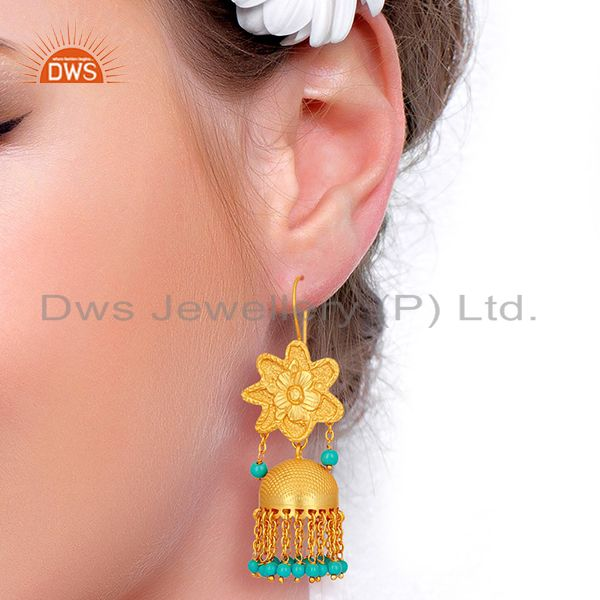 Suppliers Turquoise Gemstone Gold Plated Silver Traditional Jhumka Earrings