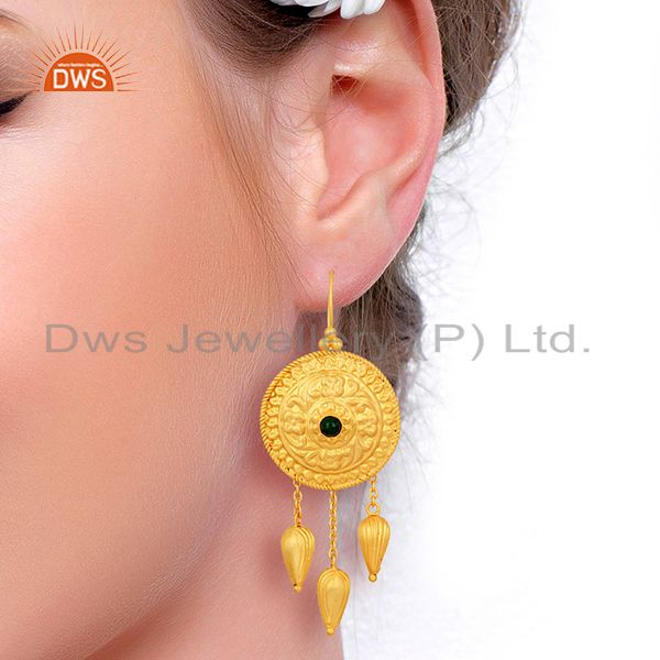 Suppliers New Arrival 925 Silver Gold Plated Malachite Gemstone Earring Supplier