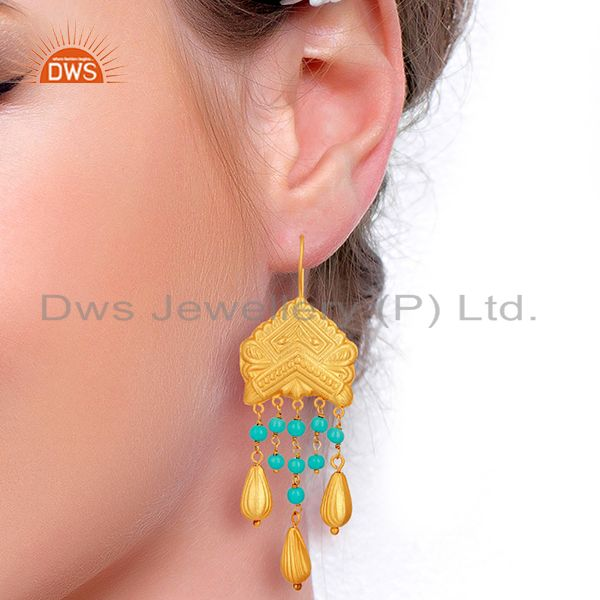 Suppliers Natural Turquoise Gemstone Gold Plated Designer Silver Earring Jewelry