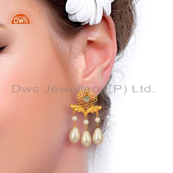 Suppliers Handamde Natural Pearl Gemstone Silver Fashion Earrings Manufacturer