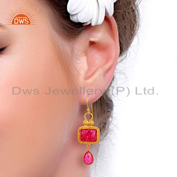 Suppliers Red Aventurine Gemstone Gold Plated 925 Silver Earrings Wholesale