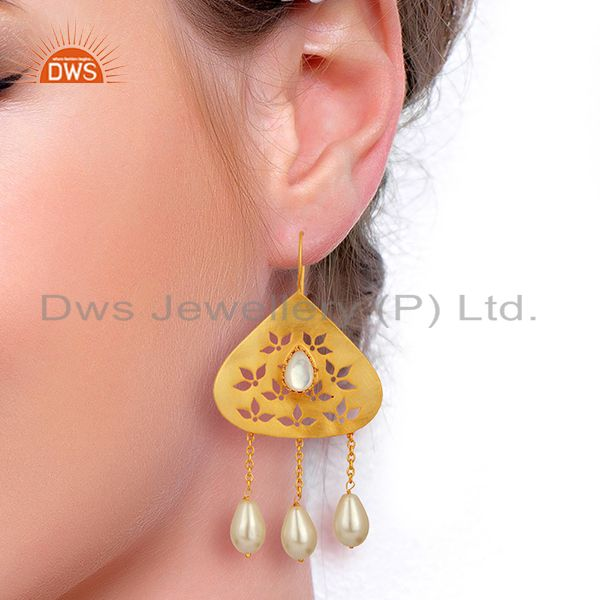 Suppliers Natural Pearl Gemstone Silver Gold Plated Designer Earrings Supplier