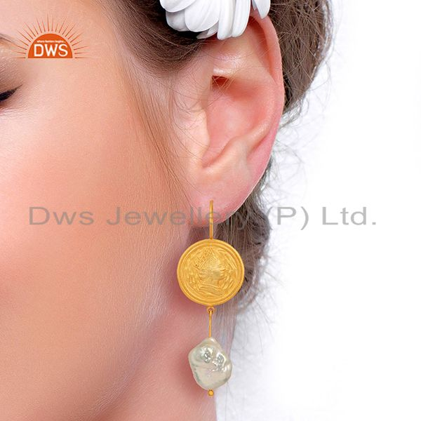 Suppliers Gold Plated 925 Silver Designer Natural Pearl Gemstone Earring Jewelry