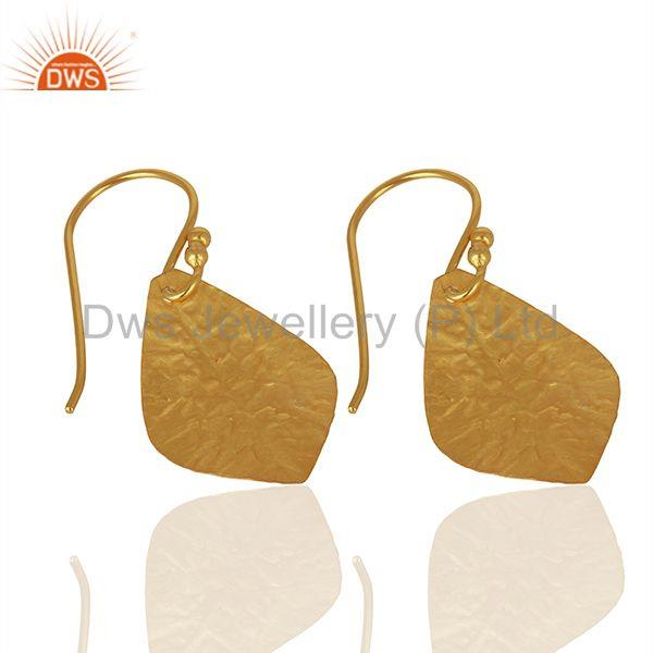 Suppliers Textured Gold Plated Silver Designer Girls Earrings Jewelry Supplier