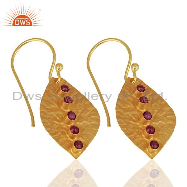 Suppliers Leaf Design 925 Silver Gold Plated Natural Ruby Birthstone Earrings