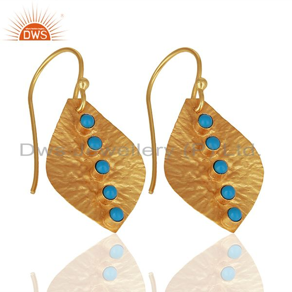 Suppliers Turquoise Gemstone Gold Plated 925 Silver Drop Earrings Manufacturer