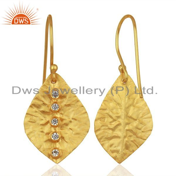 Suppliers Leaf Design Gold Plated CZ Gemstone Girls Earrings Supplier Jewelry