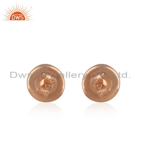 Suppliers Chalcedony Aqua Gemstone Rose Gold Plated 925 Silver Stud Earrings