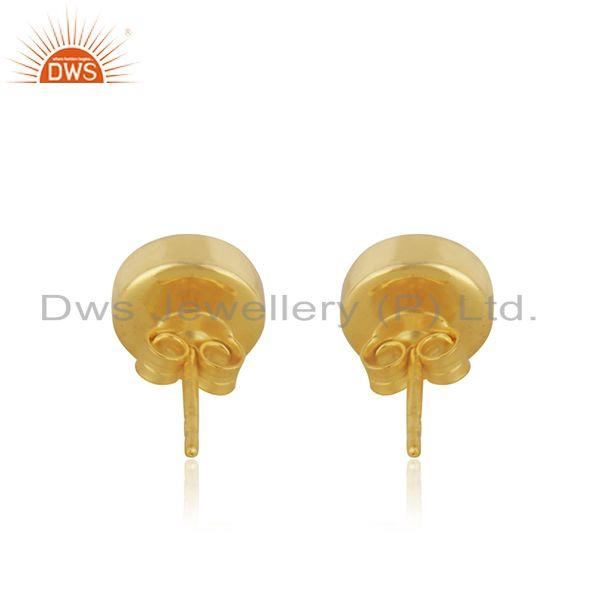 Suppliers Aqua Chalcedony Gemstone Gold Plated 925 Silver Round Stud Earrings