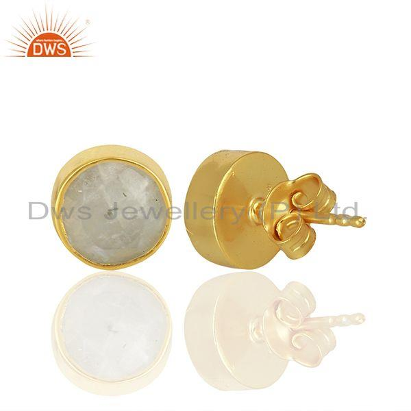 Suppliers Rainbow Moonstone Gemstone Gold Plated Silver Stud Earring Manufacture