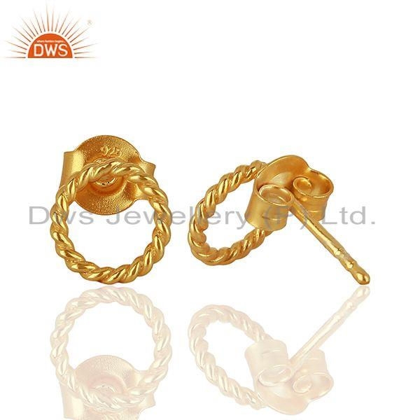 Suppliers Handmade Gold Plated 925 Sterling Silver Girls Earrings Supplier