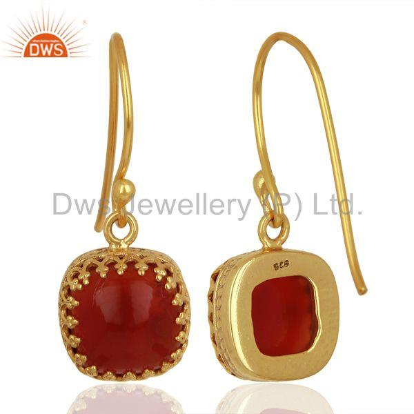 Designers Yellow Gold Plated 925 Silver Carnelian Gemstone Designer Earrings