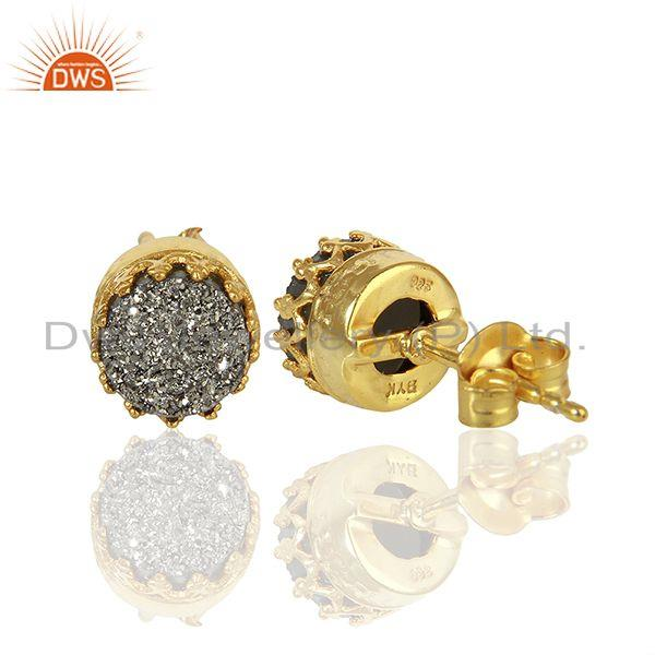 Suppliers Silver Druzy Gemstone Gold Plated 925 Silver Round Stud Earrings