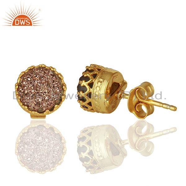 Suppliers Copper Druzy Gemstone Gold Plated 925 Silver Stud Earring Manufacturer