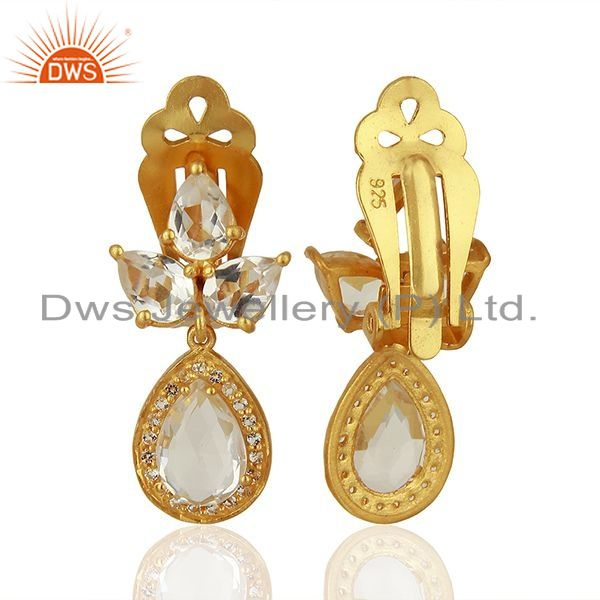 Suppliers Yellow Gold Plated Silver White Topaz Crystal Quartz Gemstone Earrings