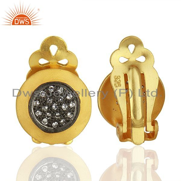 Suppliers Gold Plated Sterling Silver White Zircon Gemstone Stud Earring Jewelry