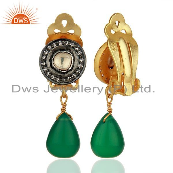 Suppliers CZ and Green Onyx Gemstone Gold Plated Silver Clip Earrings Jewelry