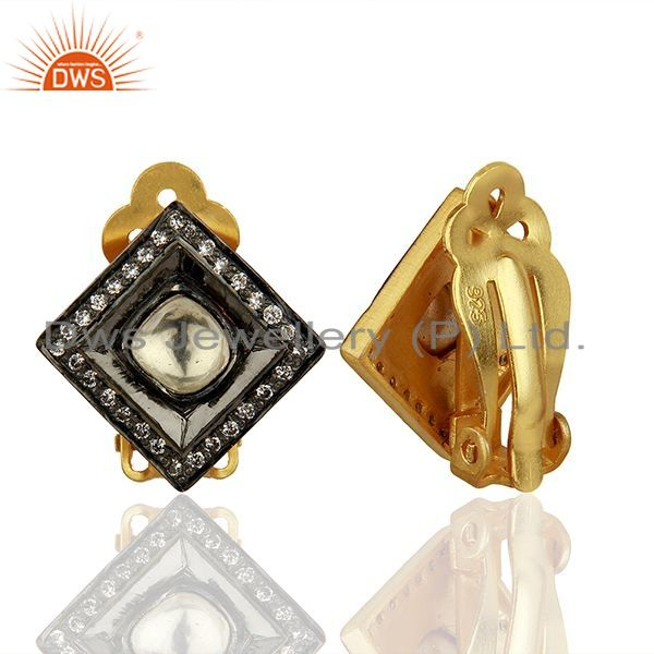 Suppliers Crystal Quartz and CZ Gold Plated Silver Stud Clip Earrings Supplier