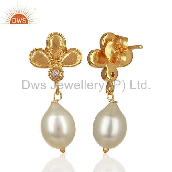 Suppliers Leaf Design 925 Silver Gold Plated Pearl Earrings Jewelry Manufacturer